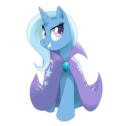 Size: 2000x2000 | Tagged: dead source, safe, artist:30clock, trixie, pony, unicorn, cape, clothes, colored pupils, female, high res, looking at you, mare, missing accessory, pixiv, simple background, smiling, smiling at you, solo, trixie's cape, white background