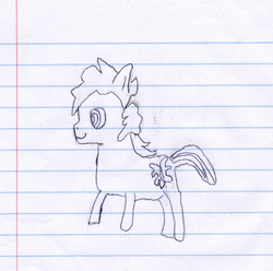 Size: 1766x1751 | Tagged: artist:elusive, beta, lined paper, oc, oc only, oc:sketchy the notebook pony, quality, safe, sketch, sketchy, stylistic suck, traditional art