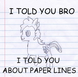Size: 605x600 | Tagged: comic sans, edit, lined paper, oc, oc:sketchy the notebook pony, parody, ponified, safe, solo, spike, sweet bro and hella jeff, traditional art