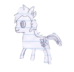 Size: 499x490 | Tagged: artist:elusive, exploitable, lined paper, oc, oc only, oc:sketchy the notebook pony, safe, sketch, solo, traditional art, transparentbackground