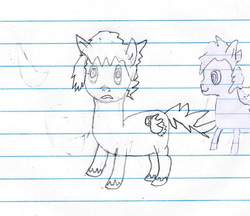 Size: 583x504 | Tagged: artist:elusive, earth pony, lined paper, oc, oc only, oc:sketchy the notebook pony, pony, quality, safe, sketchy pony, stylistic suck, traditional art