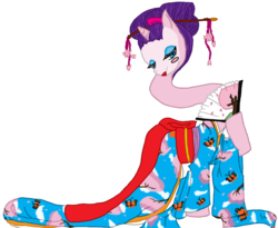 Size: 900x739 | Tagged: safe, artist:rena-muffin, rokurokubi, youkai, folklore, impossibly long neck, japan, japanese folklore, simple background, solo, transparent background