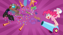 Size: 1920x1080 | Tagged: safe, artist:trinityinyang, pinkie pie, changeling, a canterlot wedding, balloon, clothes, converse, humanized, party cannon, scene interpretation, sunburst background