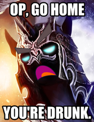 Size: 285x371 | Tagged: safe, artist:ziom05, edit, nightmare moon, caption, go home you're drunk, image macro, nightmare dupe, op