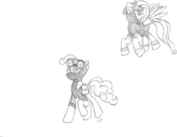 Size: 2756x2127 | Tagged: safe, artist:riondbrony, fluttershy, pinkie pie, pegasus, pony, bunny ears, clothes, dangerous mission outfit, female, goggles, hoodie, mare, mediocre, pinkiespy, sketch