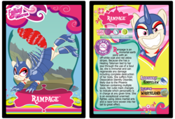 Size: 3100x2110 | Tagged: safe, artist:rinmitzuki, oc, oc only, oc:rampage, zebra, fallout equestria, fallout equestria: project horizons, armor, armored pony, barbed wire, female, kick, mare, smiling, text, trading card