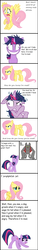 Size: 664x4392 | Tagged: safe, fluttershy, rover, twilight sparkle, diamond dog, pony, alice in wonderland, angry, female, insanity, mare, we're all mad here
