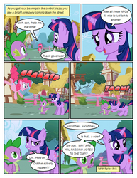 Size: 612x792 | Tagged: artist:newbiespud, claws, comic, comic:friendship is dragons, dragon, earth pony, edit, edited screencap, eyes closed, fangs, female, floppy ears, friendship is magic, hooves, horn, male, mare, open mouth, pinkie pie, pony, ponyville, safe, screencap, screencap comic, season 1, spike, twilight sparkle, unicorn, unicorn twilight