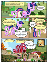 Size: 612x792 | Tagged: applejack, apple tree, artist:newbiespud, claws, comic, comic:friendship is dragons, cowboy hat, dragon, earth pony, edit, edited screencap, fangs, female, friendship is magic, hat, hooves, horn, male, mare, pony, safe, screencap, screencap comic, season 1, spike, sweet apple acres, tree, twilight sparkle, unicorn, unicorn twilight