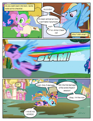 Size: 612x792 | Tagged: artist:newbiespud, checklist, claws, comic, comic:friendship is dragons, dragon, edit, edited screencap, eyes closed, fangs, female, friendship is magic, hooves, horn, male, mare, mud, onomatopoeia, pegasus, pony, ponyville, rainbow dash, safe, screencap, screencap comic, season 1, spike, twilight sparkle, unicorn, unicorn twilight, wings
