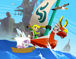 Size: 957x740 | Tagged: safe, sweetie belle, bird, human, hylian, seagull, unicorn, animal, boat, female, filly, foal, king of red lions, link, male, ocean, sailing, shield, ship, the legend of zelda, the legend of zelda: the wind waker, toon link