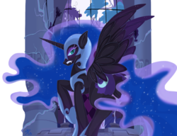 Size: 1200x923 | Tagged: safe, artist:falleninthedark, nightmare moon, alicorn, pony, butt, castle of the royal pony sisters, ethereal mane, female, helmet, lidded eyes, looking back, mare, moon, night, plot, scowl, solo, starry mane, wings