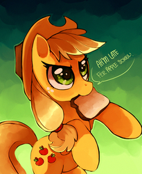 Size: 597x728 | Tagged: safe, artist:si1vr, applejack, pony, bread, mouth hold, rearing, schoolgirl toast, silly, silly pony, solo, that pony sure does love apples, toast