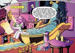 Size: 1048x747 | Tagged: artist:andypriceart, bath, bathtub, bubble, bubble bath, candle, idw, idw micro series, leaning, magic, micro-series, open mouth, princess celestia, reading, safe, scroll, smiling, spoiler:comicm03, telekinesis, tiara, towel, towel on head, wet mane, window