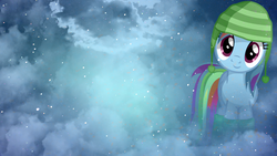 Size: 1920x1080 | Tagged: safe, artist:austiniousi, artist:overmare, rainbow dash, cap, hat, vector, wallpaper, winter