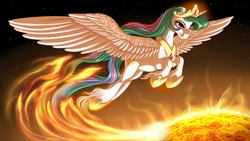 Size: 1920x1080 | Tagged: safe, artist:kittehkatbar, princess celestia, female, majestic, solo, space, sun, unshorn fetlocks