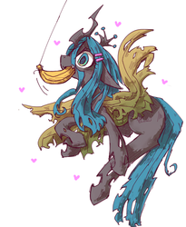 Size: 738x898   Tagged: safe, artist:kolshica, queen chrysalis, changeling, changeling queen, nymph, banana, confused, cute, cutealis, female, fishing, food, fruit, solo