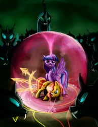 Size: 1275x1650 | Tagged: safe, artist:fox-moonglow, queen chrysalis, sunset shimmer, twilight sparkle, alicorn, changeling, pony, unicorn, fight, force field, harsher in hindsight, hilarious in hindsight, magic, magic circle, twilight sparkle (alicorn)