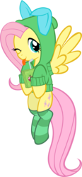 Size: 1403x3036 | Tagged: safe, artist:doctor-g, fluttershy, bunny ears, clothes, cute, hoodie, juice box, looking at you, shyabetes, simple background, socks, solo, striped socks, tongue out, transparent background, vector