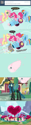 Size: 650x2626 | Tagged: safe, artist:mixermike622, fluttershy, pinkie pie, queen chrysalis, rainbow dash, oc, oc:fluffle puff, tumblr:ask fluffle puff, comic, mushroom cloud, party cannon