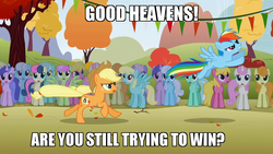 Size: 1280x720 | Tagged: safe, edit, edited screencap, screencap, applejack, bon bon, carrot top, cherry berry, golden harvest, linky, lyra heartstrings, merry may, rainbow dash, rainbowshine, sassaflash, sea swirl, seafoam, shoeshine, sweetie drops, twinkleshine, fall weather friends, background pony, background pony audience, clone, missing horn, running of the leaves, the princess bride
