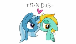 Size: 1024x600 | Tagged: safe, artist:colorfulwonders, lightning dust, trixie, female, heart, lesbian, shipping, trixiedust