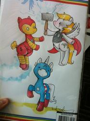 Size: 764x1024 | Tagged: artist:katiecandraw, captain america, idw, iron man, marvel, ponified, safe, steve rogers, the avengers, thor, tony stark