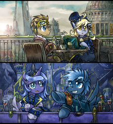Size: 700x769 | Tagged: artist:saturnspace, breakfast, canterlot, clockpunk, clockwise whooves, contrast, derpy hooves, doctor who, doctor whooves, female, jack harkness, mare, muffin, night, pegasus, pointing, pony, princess luna, safe, star hunter, tea, time turner, wine, wine bottle, wine glass