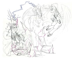Size: 1280x1040 | Tagged: safe, artist:longinius, king sombra, princess celestia, princess luna, alicorn, pony, unicorn, comic:corruption, armor, female, grayscale, male, mare, monochrome, stallion, warrior, warrior celestia, warrior luna, wip