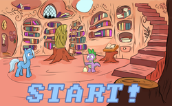 Size: 936x578 | Tagged: safe, artist:crystal-secret, spike, trixie, ask, choose your own adventure, comic, golden oaks library, library, sparklestrixesandmagic, tumblr