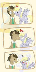 Size: 1300x2600 | Tagged: safe, artist:nube, derpy hooves, doctor whooves, time turner, pegasus, pony, blushing, comic, cute, derpabetes, doctorbetes, doctorderpy, female, heart, kissing, male, mare, pixiv, shipping, straight, surprise kiss