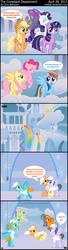 Size: 1424x5231 | Tagged: safe, artist:wildtiel, applejack, fluttershy, lyra heartstrings, pinkie pie, rainbow dash, rarity, sunshower raindrops, twilight sparkle, oc, earth pony, pegasus, unicorn, artificial wings, augmented, comic, magic, magic wings, mane six, unicorn twilight, weather factory, weather factory uniform, wings