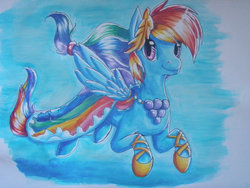 Size: 900x675 | Tagged: artist:paper-aschenstern, clothes, dress, gala dress, rainbow dash, safe, traditional art