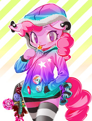 Size: 1162x1532 | Tagged: dead source, safe, artist:iizuna, pinkie pie, rainbow dash, anthro, button, candy, clothes, female, hoodie, lollipop, psychedelic, solo, thigh highs