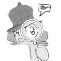 Size: 250x249 | Tagged: safe, pinkie pie, ask, avatar, deerstalker, detective, female, grayscale, hat, icon, magnifying glass, monochrome, sherlock, sherlock holmes, sherlock pie, solo, tumblr