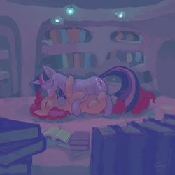Size: 1000x1000   Tagged: safe, artist:cabyowl, pinkie pie, twilight sparkle, earth pony, unicorn, book, eyes closed, female, golden oaks library, kissing, lesbian, library, mare, shipping, twinkie, unicorn twilight