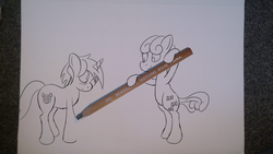 Size: 3552x1998 | Tagged: dead source, safe, artist:mostlyponyart, bon bon, lyra heartstrings, sweetie drops, earth pony, pony, unicorn, bipedal, blushing, creation, drawing, drawn into existence, duo, pencil, pencil drawing, photo, smiling, traditional art