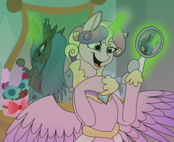 Size: 900x736 | Tagged: safe, artist:100yearslater, princess cadance, queen chrysalis, alicorn, changeling, changeling queen, pony, clothes, disguise, disguised changeling, dress, fake cadance, female, flower, glowing horn, grin, horn, magic, mirror, reflection, smiling, spread wings, wings