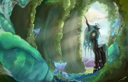 Size: 1200x768 | Tagged: dead source, safe, artist:fly-gray, queen chrysalis, changeling, changeling queen, cave, cocoon, crepuscular rays, female, flower, mare, solo