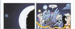 Size: 2024x786 | Tagged: applejack, artist:amy mebberson, celestial mechanics, idw, moon, princess celestia, princess luna, rainbow dash, rope, s1 luna, safe, space, spike, spoiler:comic