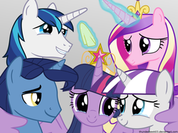 Size: 1600x1200   Tagged: safe, artist:thunderhawk03, night light, princess cadance, shining armor, twilight sparkle, twilight velvet, alicorn, pony, brother and sister, crying, father and child, father and daughter, father and son, female, handkerchief, husband and wife, liquid pride, male, mare, mother and child, mother and daughter, mother and son, siblings, tissue, twilight sparkle (alicorn), winghug