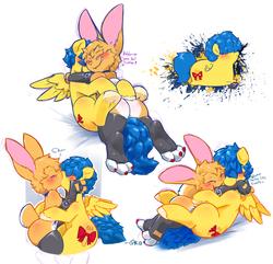 Size: 1355x1304 | Tagged: safe, artist:0r0ch1, oc, oc only, oc:0r0ch1, oc:lemonpuffs, rabbit, blushing, gay, hug, kissing, male, non-mlp oc