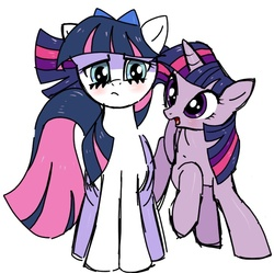 Size: 724x722 | Tagged: safe, artist:mikey, twilight sparkle, anarchy stocking, blushing, crossover, panty and stocking with garterbelt, pixiv, ponified
