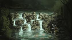 Size: 1024x581 | Tagged: safe, artist:assasinmonkey, zecora, fish, zebra, female, river, scenery, solo, water, waterfall