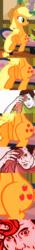 Size: 417x3000   Tagged: safe, edit, edited screencap, screencap, applejack, earth pony, pony, applebucking thighs, applejack's hat, comic, cowboy hat, hat, hips, screencap comic, sitting, smiling, sweat, sweating towel guy, tenso, wide hips