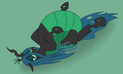 Size: 1280x777 | Tagged: artist:drumstickpony, bedroom eyes, belly, bloated, fat, inflation, queen chrysalard, queen chrysalis, safe, sultry pose