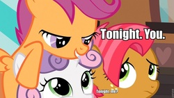 Size: 960x540 | Tagged: safe, babs seed, scootaloo, sweetie belle, aqua teen hunger force, image macro, roflbot, tonight you