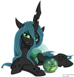Size: 4690x4900   Tagged: safe, artist:kp-shadowsquirrel, artist:yanoda, queen chrysalis, changeling, changeling queen, :3, absurd resolution, bedroom eyes, fangs, female, looking at you, prone, seductive, simple background, smiling, solo, transparent background