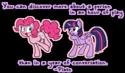 Size: 1500x876   Tagged: safe, artist:serenamidori, pinkie pie, twilight sparkle, alicorn, pony, female, mare, plato, quote, twilight sparkle (alicorn)
