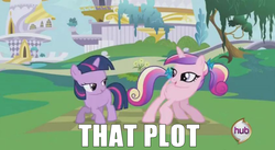 Size: 844x464 | Tagged: alicorn, bedroom eyes, bow, butt shake, dat ass was fat, dat flank, do a little shake, duo, duo female, female, filly, filly twilight sparkle, hair bow, image macro, implied lesbian, implied shipping, implied twidance, looking at each other, looking back, meme, plot, princess cadance, raised tail, safe, sunshine sunshine, tail, tail aside, tail bow, teen princess cadance, that ass, the ass was fat, twilight sparkle, unicorn, unicorn twilight, younger